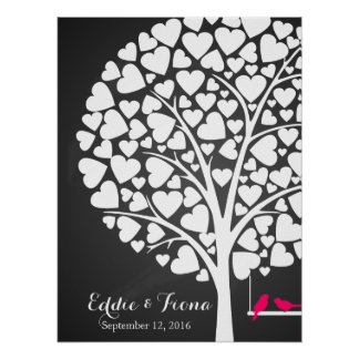 signature wedding guest book tree bird pink poster