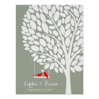 signature wedding guest book tree bird red poster