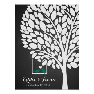 signature wedding guest book tree bird teal poster