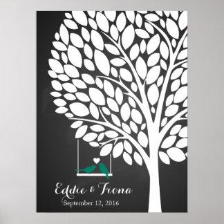 signature wedding guest book tree bird teal poster