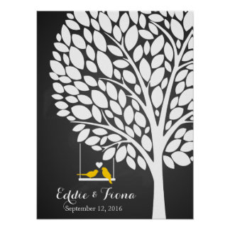 signature wedding guest book tree bird yellow poster