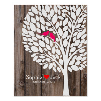 signature wedding guest book tree pink wood