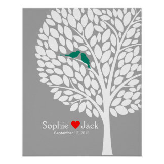 signature wedding guest book tree teal color poster