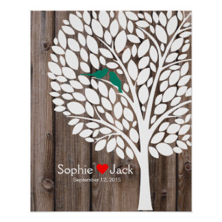 signature wedding guest book tree teal wood poster