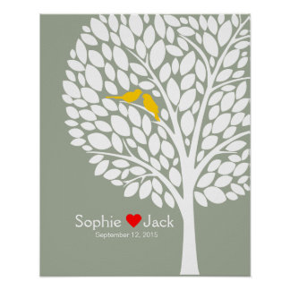 signature wedding guest book tree yellow wood poster