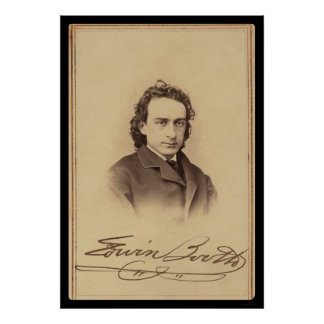 Signed Card of Actor Edwin Booth 1862 Poster