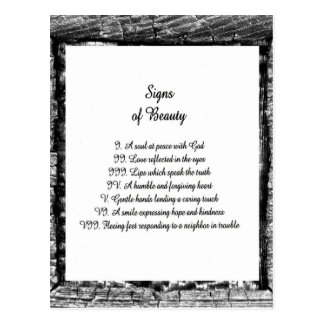 Signs of Beauty Postcard