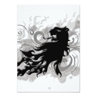 Silhouette, black lion head with flames 5x7 paper invitation card