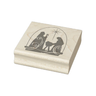 Silhouette Christmas nativity scene art stamp