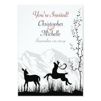 Silhouette Deer and Mountains Wedding Invitaiton 13 Cm X 18 Cm Invitation Card