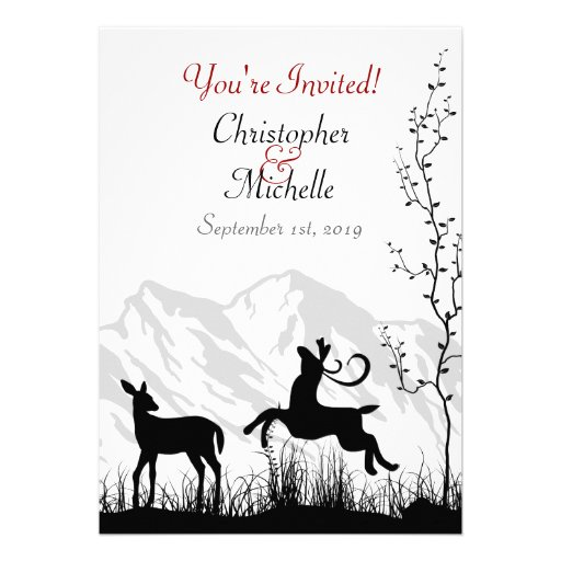 Silhouette Deer and Mountains Wedding Invitaiton Announcements