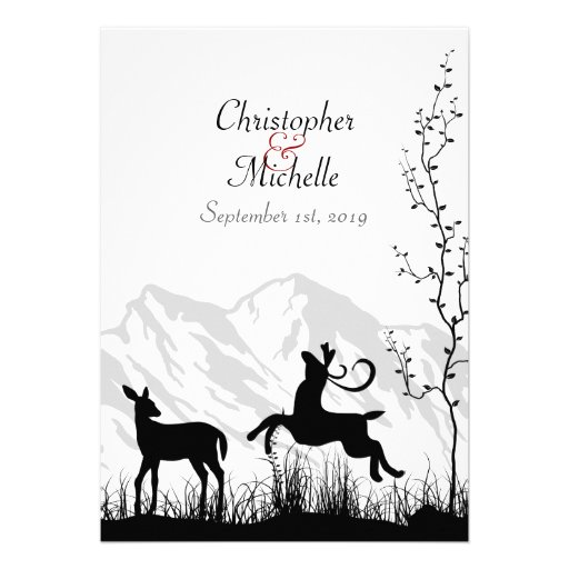 Silhouette Deer and Mountains Wedding Invitaiton Cards