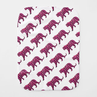 Silhouette Hot Pink and Black Tiger Burp Cloth