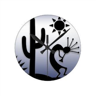 Silhouette Kokopelli Round Clock