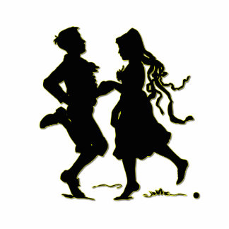 Silhouette of a Couple dancing a jig Standing Photo Sculpture