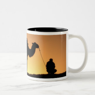 Silhouette of camel caravan on the desert at 2 Two-Tone coffee mug