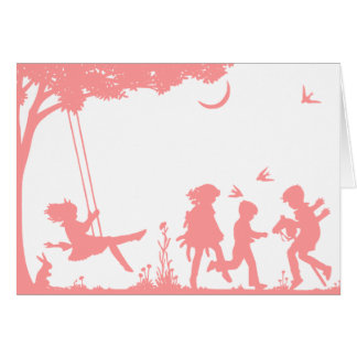 Silhouette of Children Playing Birthday Card