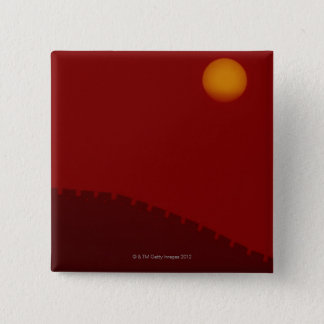 Silhouette of Great Wall of China 15 Cm Square Badge