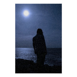 silhouette of lone woman on cliff edge during rain poster