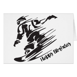 Silhouette Snowboarding Mountain Happy Birthday Card