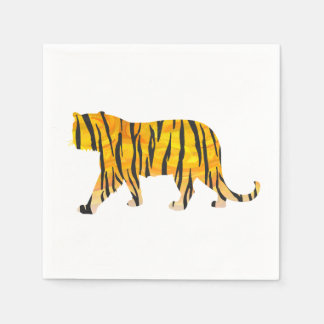 Silhouette Tiger Black and Orange Disposable Napkins