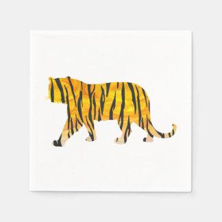 Silhouette Tiger Black and Orange Disposable Napkins