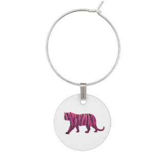 Silhouette Tiger Pink and Black Wine Charm