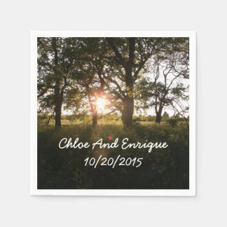 Silhouette Trees And Sunlight Personalized Wedding Paper Napkin