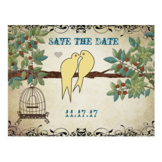 Silhouette Yellow Birds Bird Cage Save the Date Postcard