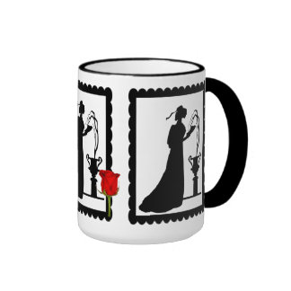 SIllhouette mug, lady with flowers Ringer Mug