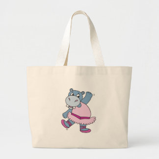 silly ballerina hippo large tote bag