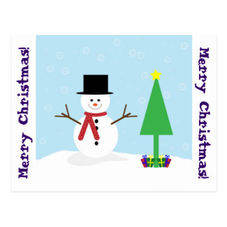 Silly Cartoon Snowman with gifts Christmas Tree Postcards