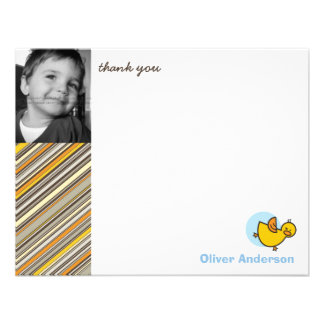 Silly Duckies Blue Kids Birthday Thank You Card Custom Announcements