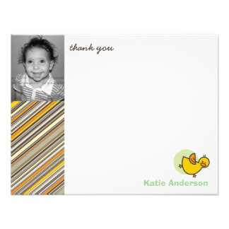 Silly Duckies Green Kids Birthday Thank You Card Invites