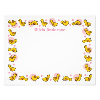 Silly Duckies Pink Baby Shower Thank You Card Personalized Announcements