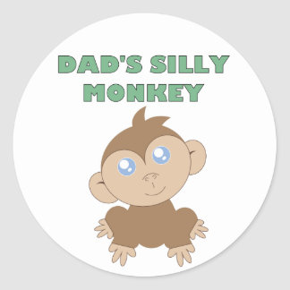 Silly Monkey - Classic Round Sticker, Glossy Classic Round Sticker