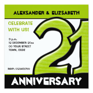 Silly Number 21 green Anniversary Party Card