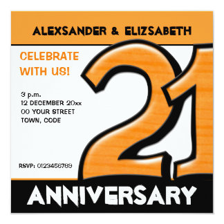 Silly Number 21 orange Anniversary Party Card