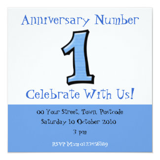 Silly Numbers 1 blue Anniversary Invitation
