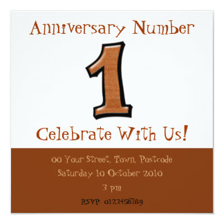 Silly Numbers 1 chocolate Anniversary Invitation