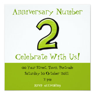 Silly Numbers 2 green Anniversary Invitation