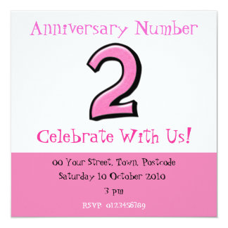 Silly Numbers 2 pink Anniversary Invitation