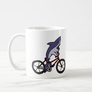 Silly Shark Riding Bicycle Cartoon Coffee Mug