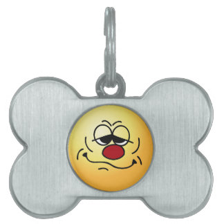 Silly Smiley Face Grumpey Pet ID Tag