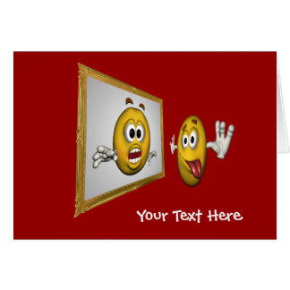 Silly Smiley Face In Mirror Funny Photo Card