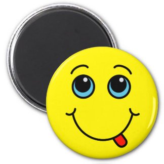Silly Smiley Face Yellow 6 Cm Round Magnet