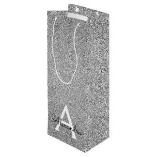 Silver 25th Birthday Glitter & Sparkle Monogram Wine Gift Bag