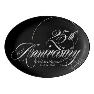 Silver 25th Wedding Anniversary Personalized Porcelain Serving Platter
