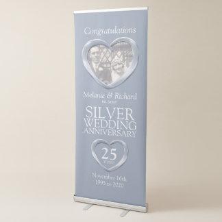 Silver 25th wedding anniversary photo heart banner