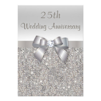 Silver 25th Wedding Anniversary Sequins and Bow Custom Invite